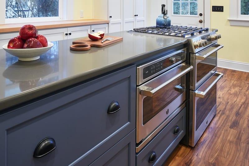 SE Portland Kitchen Remodel Blue Cabinets Range