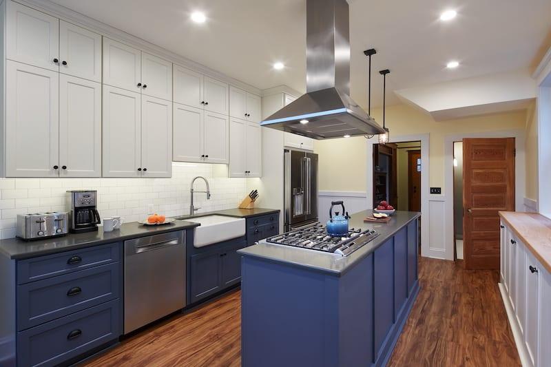 SE Southeast Portland Kitchen Remodel Blue Cabinets
